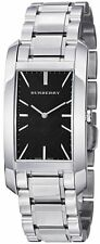 BURBERRY SILVER HERITAGE SWISS MADE,S/STEEL,BLACK DIAL,RECTANGLE WATCH BU9401