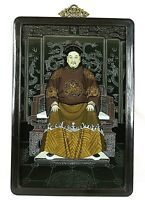 Chinese Emperor Asian Art Wall Hanging Vintage Framed Man