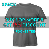 3 PACK MENS PLAIN POCKET T SHIRT HEAVYWEIGHT SHORT SLEEVE TEE ACTIVE WORK SHIRTS
