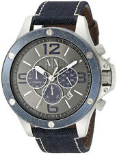 Armani Exchange AX1517 Wellworn Grey Dial Denim Strap Chronograph Men's Watch