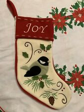 JOY BIRD HOLLY PINECONE CHRISTMAS FELT STOCKING