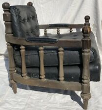 Vintage British-style Low Library Chair Vinyl Upholstered , Restoration Project