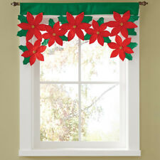 Red Green Flower Christmas Curtains Bright Tree Xmas Window Home Pro