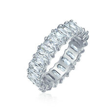 Clear Emerald Cut AAA CZ Eternity Wedding Band Ring Sterling Silver