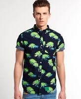 New Mens Superdry Southbank Surf Shirt Venice Palms Green