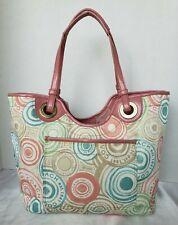 Coach F19184 Pastel Logo Beach Print Tote Nylon Purse Bag Pink Trim Large
