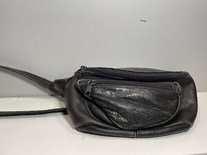 Vintage Black Leather Belt Bag Fanny Pack 80s 90s