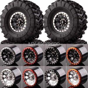 """4pcs Aluminum 2.2"""" Beadlock Wheel Rim & Tires Fit Axial Yeti / Wraith RC Crawler"""
