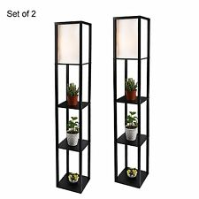 2x Modern Wood Shelf Floor Lamp Linen Shade Light Storage Living Room Black Home