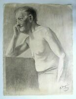Grand dessin original, homme âgé, torse nu, signé A. Bouquin, 8 dec 1910