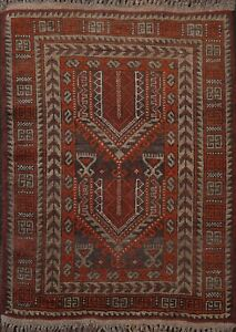 Vintage Geometric Balouch Afghan Oriental Area Rug Hand-knotted Wool 2x2 Square