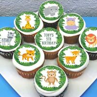 "Jungle Animals Edible Icing Cupcake Toppers - 2"" - PRE-CUT - Sheet of 15"