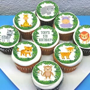 """Jungle Animals Edible Icing Cupcake Toppers - 2"""" - PRE-CUT - Sheet of 15"""