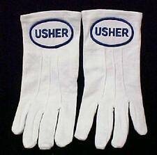 Usher White Stitched Nylon Knit Church Gloves Blue Embroidery 2 pc Womens New