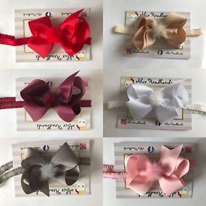 Baby Girls 10cm Bow Mink Faux Fur Bow Headband Hairband Hair Accessories +Lot