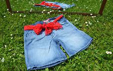 H&M Vtg Style Crop Capri Pants Denim Blue Jeans Shorts FREE BELT sz S/M Q47