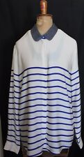 MAISON SCOTCH ~ Ivory & Royal Blue Longline Semi Sheer Shirt Chain Neckline 4 16