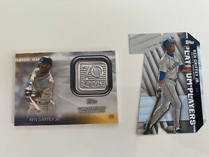 Ken Griffey Jr. 2021 Topps (2) Card Lot. 70th Patch and Platinum Insert. Red Sox