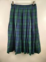 Pendleton Vintage Women Skirt Aline Green Check Print Pleated Wool Blend W24 UK6