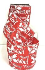 """Merry Christmas Wired Dupion Ribbon~Joy,Noel,Hope~Red,White,Silver~4""""Wx10yd"""