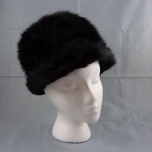 Vintage Tall Black Faux Fur Russian Kubanka Bucket Hat England Size S/M 22