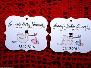 10 Kraft Gift Tags Baby Shower Favour Bomboniere Personalised Gender Reveal  b5