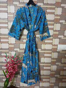 Indian Cotton Kimono Jungle Floral Print Loung Wear Plus Size Maxi Night Dress