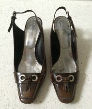 Ladies Designer MORESCHI Sling Back Shoes With Heel Brown Colour Size 391/2