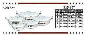 Cooking Pots Aluminium Wok (Karahi)  set size # 1,2,3,4,5 (Free Post in UK)