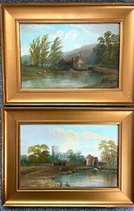 A  Pair Of Antique Oil Paintings By Richard Allam Landscapes