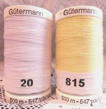 NEW White & Yellow GUTERMANN 100% polyester sew-all thread 547 yards Spools