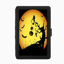 Black Metal Cigarette Case Holder Box Halloween Smoke D3 Scary Pumpkins Bats Owl