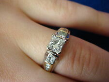 14K TWO-TONE GOLD 1.05CT T.W. PRINCESS & ROUND CUT DIAMONDS ENGAGEMENT RING