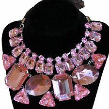 Collier Stoff Kette mit großen Strass-Steinen hell rosa Strasscollier Halskette
