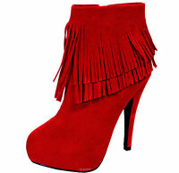New women's shoes ankle boots fringe detail suede like side zipper red fashion