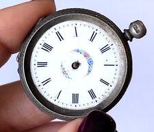 Antiguo Plata de Ley Estuche Cuerda Adorno Floral Bolsillo Reloj para Reparación