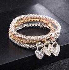 Swarovski Elements Triple -Row Stretch Bracelet 3PC from ITALY 14K Rose Gold