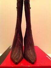 Bronx Tall Leather Boot Size 40 /US10 Snake Embossed Boot