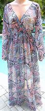 Victorias Secret swim coverup sheer black neon long bling dress paisley S M