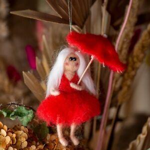 Needle felted Waldorf inspired, Needle Felted Fairy, lady umbrella