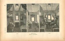 Chemin de fer wagon-lit de jour et de nuit cabinet de toilette GRAVURE 1884
