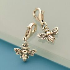 Honey Bee Bumble Bee Clip On Charm - Solid 925 Sterling Silver
