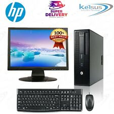"HP Desktop Computer Bundle PC + 19"" Monitor Screen + Windows 10 or Windows 7"