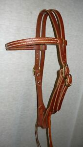 Leather Headstall Hermann Oak Leather Bridle Western Trail Riding Full