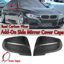 Pair REAL Carbon Fiber ADD-ON Mirror Cover Cap for BMW F30 F31 F35 F32 F33 F36