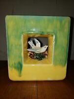 PEEK-A-BOO VASE! Mid-Century Vintage McCOY pottery 1951 YELLOW ARCATURE pattern