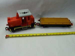Playmobile TRAIN ENGINE with flat car looks mint and complete used no box TESTED