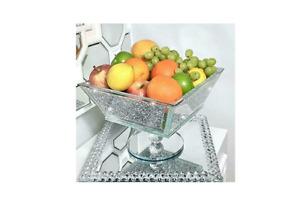 Sparkly Silver Crushed Diamond Crystal Filled Bling Fruit Bowl Kitchen Medium UK