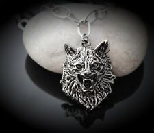 Wolf Head Long Pendant