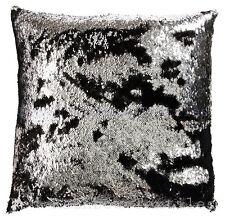 Mermaid Magic Sequin Black & Silver 18 inch Sparkle Bling Cushion Cover SALE